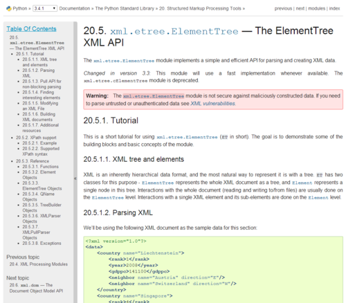 A screenshot of the documentation for ElementTree