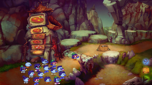 "A screenshot of the ""Pizza Trolls"" level of the game."